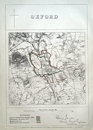 OXFORD, Cowley, Iffley, Sandford, Cassington, Cumnor, Elsfield antique map 1868