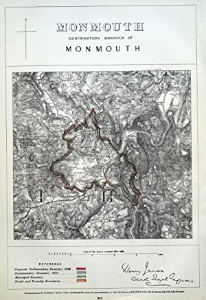 MONMOUTH, WALES, Welsh Newton, Dixton, Rockfield, Mitchel Troy antique map 1868
