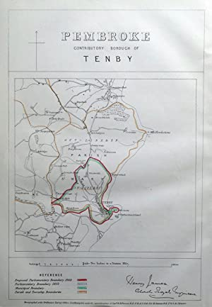 TENBY, PEMBROKESHIRE, WALES, Saundersfoot, Penally, Gumfreston antique map 1868
