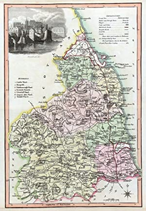 NORTHUMBERLAND, Langley & Belch Original Antique County Map 1818