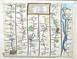 LONDON BROMLEY COLCHESTER HARWICH Bowles/Senex Antique Strip Road Map 1757