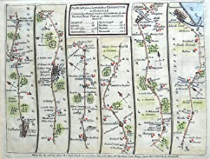 Colchester Ipswich Saxmundham Yarmouth Bowles/Senex Antique Strip Road Map 1757