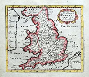 ENGLAND AND WALES, John Seller, Original Antique Map c1696