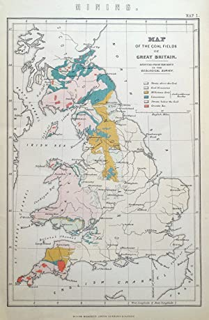 COALFIELDS of GREAT BRITAIN geographical map, W.Mackenzie, Antique Map 1883