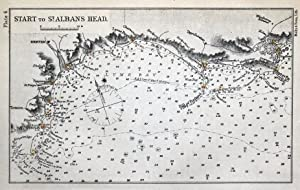 START to St.ALBAN'S HEAD, Exmouth,Poole,Weymouth Mini sea chart Antique Map 1898