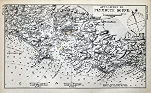 Approaches to PLYMOUTH SOUND, Devon, Mini sea chart Original Antique Map 1898