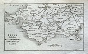 TENBY,Milford Haven,Caldy Isle,Narbeth Antique Copper Engraved Vintage Map 1804