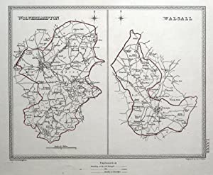 WOLVERHAMPTON, WALSALL,West Midlands Town Plans, Lewis Original antique map 1835