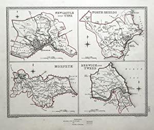 NEWCASTLE, NORTH SHIELDS, MORPETH, BERWICK Town Plans, Lewis antique map 1835