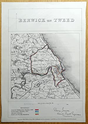 BERWICK on TWEED, Tweedmouth, Spittal, Paxton, Horncliffe,Foulden antique map 1868