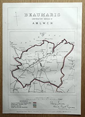 AMLWCH, ANGLESEY, WALES Street plan original antique map 1868