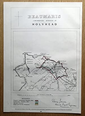 HOLYHEAD, ANGLESEY, WALES Street plan original antique map 1868