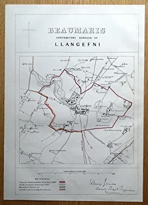LLANGEFNI, ANGLESEY, WALES Street plan original antique map 1868