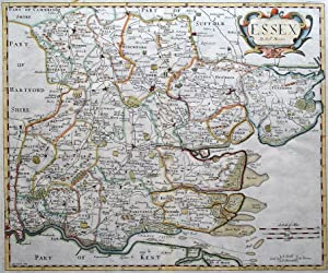 ESSEX, Robert Morden, original antique hand coloured map 1695