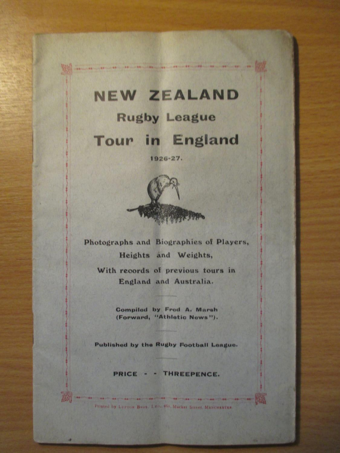 New Zealand Rugby League Tour in England 1926-27 Marsh, Fred A. (Comp.) Very Good Softcover