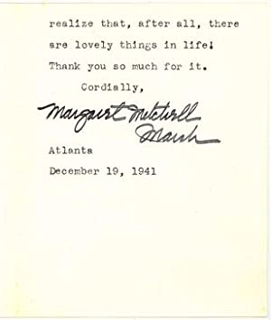 Typed Letter Signed by the American Author: MITCHELL, MARGARET