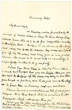Amusing, Friendly and Unpublished Autograph Letter Signed: COOPER, JAMES FENIMORE