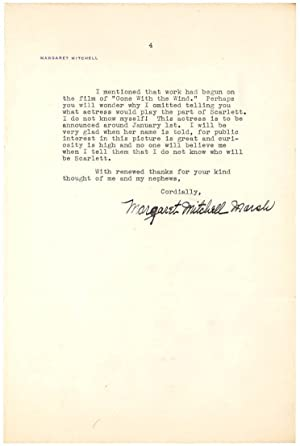 Typed Letter Signed by MARGARET MITCHELL, the: MITCHELL, MARGARET