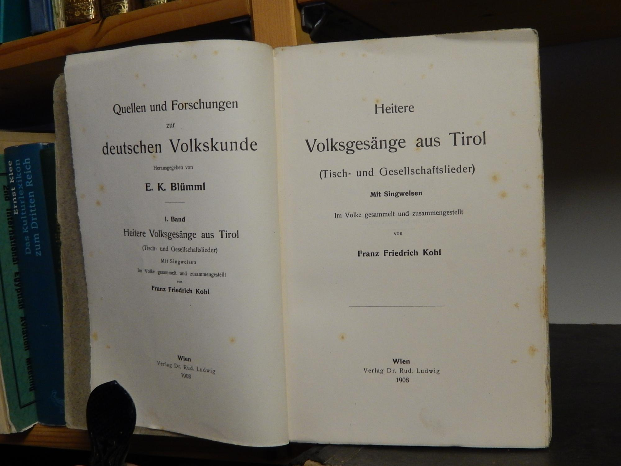 Quellen und Forschungen zur Deutschen Volkskunde --: Kohl, Franz Friedrich