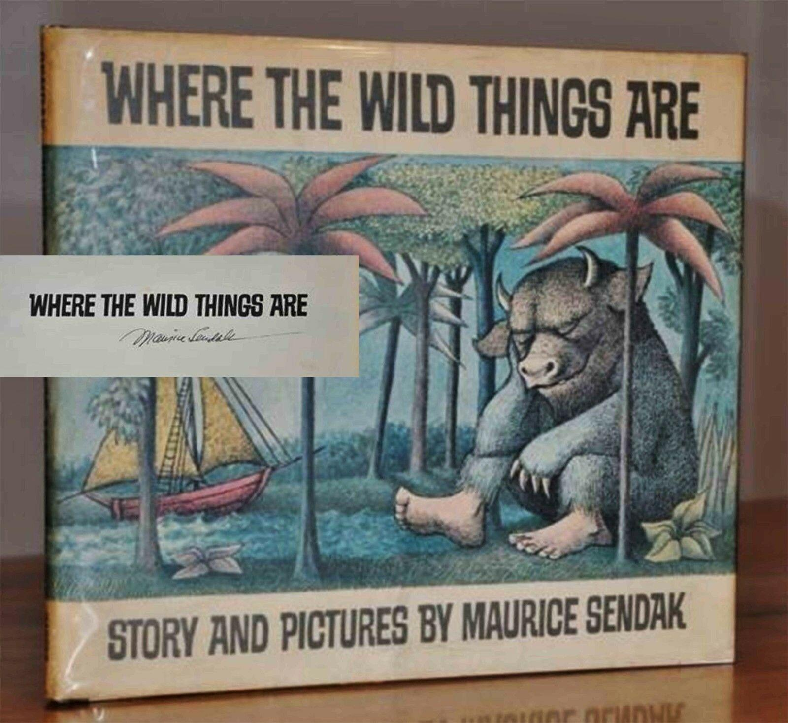 WHERE_THE_WILD_THINGS_ARE_SIGNED_FIRST_STATE_DUST_JACKET_MAURICE_SENDAK_Assez_bon_Couverture_rigide