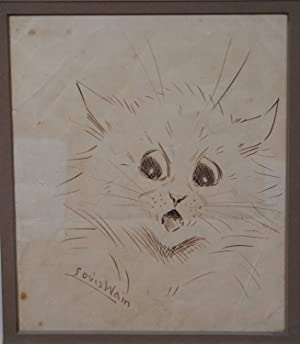 LOUIS WAIN SIGNED ORIGINAL PEN AND INK DRAWING OF A CAT