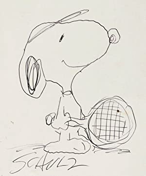 CHARLES SCHULZ SIGNED SUPERB ORIGINAL DRAWING OF SNOOPY IN TENNIS