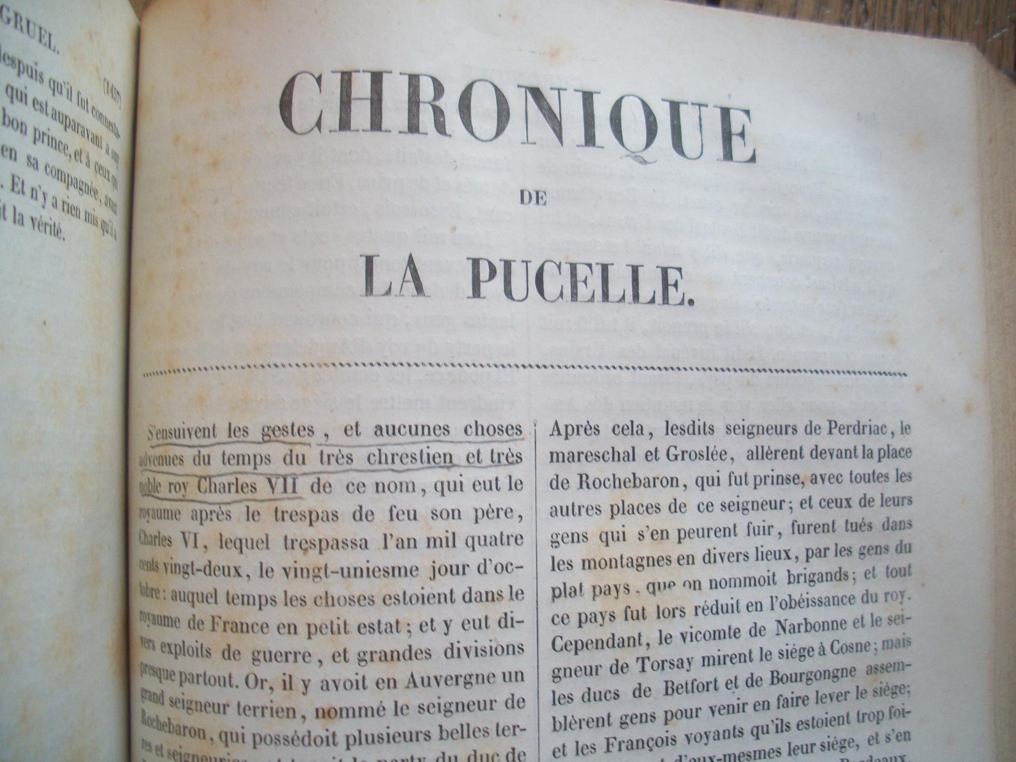mathieu DE COUSSY ; Jean de TROYES ; Guillaume GRUEL - CHRONIQUES de la PUCELLE et de son PROCÈS Near Fine Hardcover