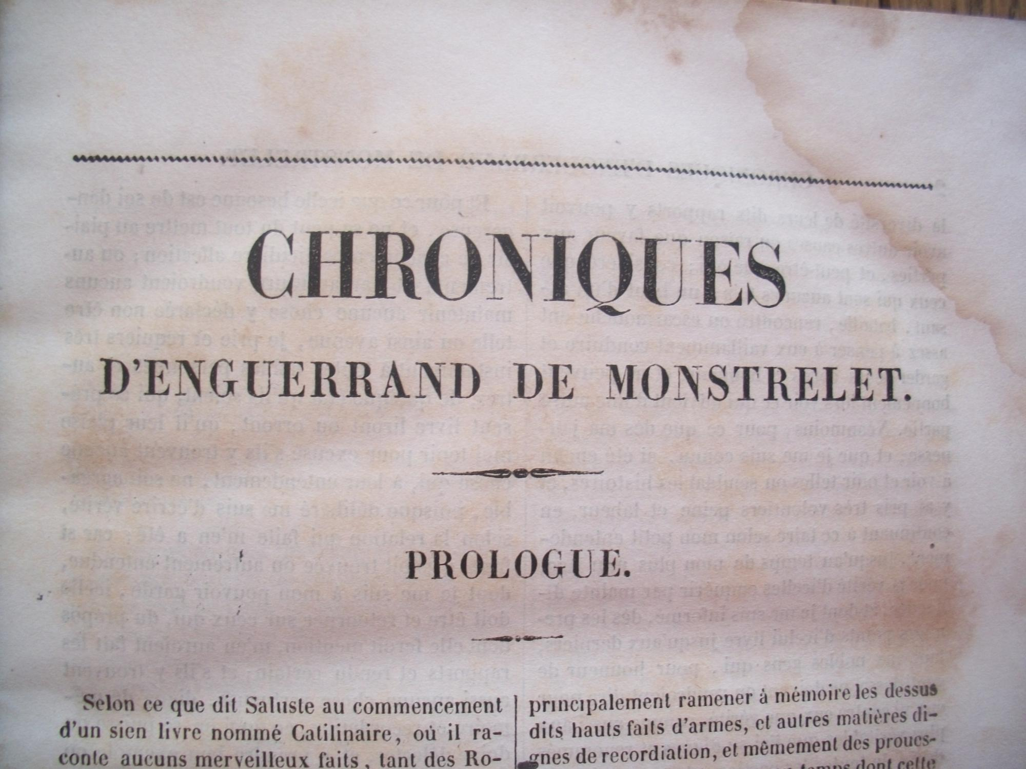 CHRONIQUES d'ENGUERRAND de MONSTERLET Near Fine Hardcover