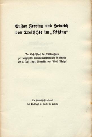 Gustav Freytag und Heinrich Treitschke im »Kitzing«.: Freytag, Gustav -
