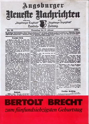 Bertolt Brecht zum fünfundsiebzigsten Geburtstag.: Brecht -