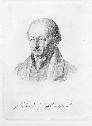 Friedrich Perthes. Gestochenes Porträt von Otto Speckter mit faksimilierter Unterschrift.: Perthes -