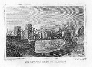Die Ludwigsbrücke in Bamberg. Stahlstich von Lange / Poppel.: Bamberg -