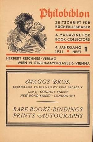 Philobilon. Eine Zeitschrift für Bücherliebhaber. A Magazine for Book-Collectors. Vierter Jahrgang ...