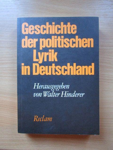 Geschichte der politischen Lyrik in Deutschland (German Edition)