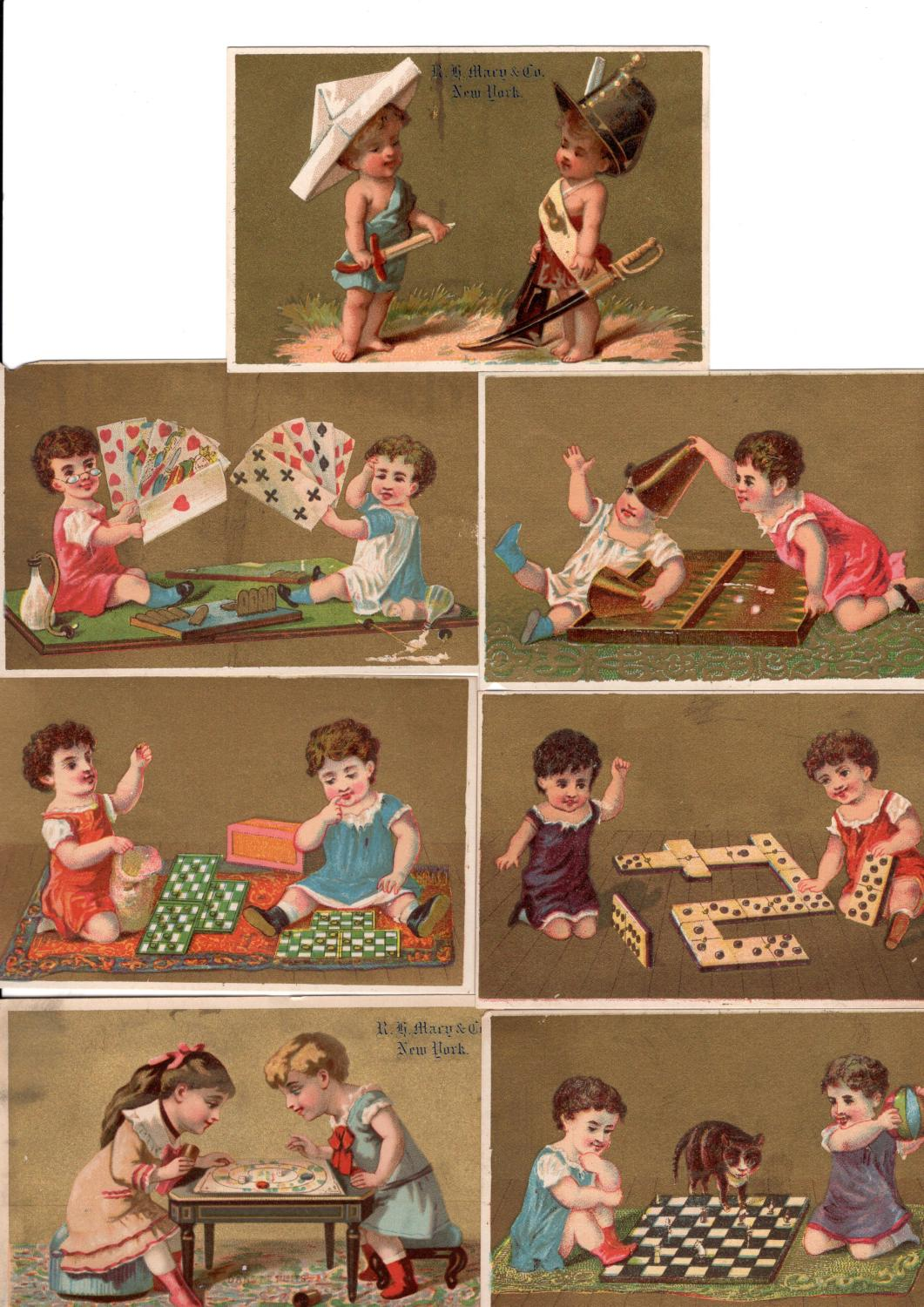 Eight Victorian Tradecards Featuring Children and Games/Toys Near Fine