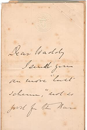 Holographic letter from British Judge Lewis Cave (1832 – 1897), written on chain-lined paper, Royal...