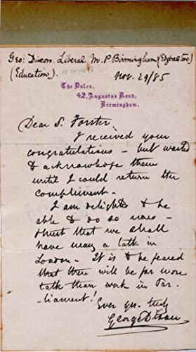 ALS from George Dixon, Member of Parliament, to S(ir) Forster (Forster's Education Act/...