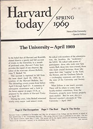 Harvard Today: Spring 1969. News of the University - Special Edition.: Harvard University
