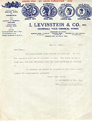 I. Levinstein & Co. Letterhead (Analine Dyes, Chemicals)