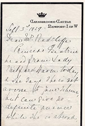 Holographic letter on Carisbrooke Castle Letterhead : Newport, I of W, dated Sept. 3, 1929, From ...