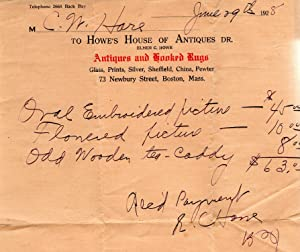 1928 Invoice Howe's House of Antiques (and