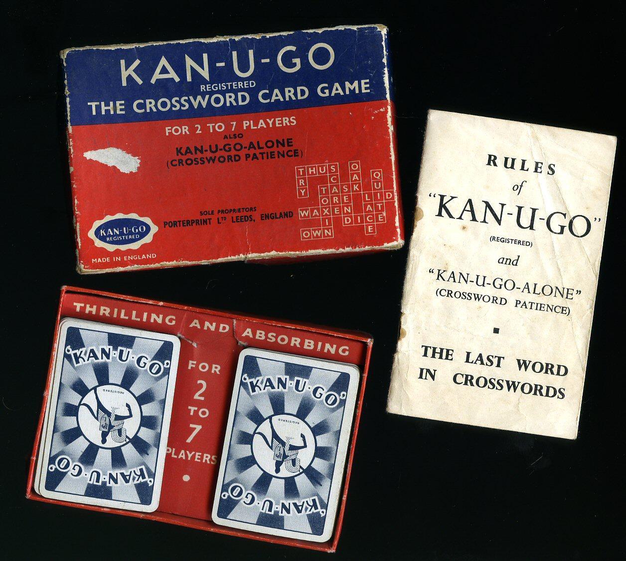 Kan-U-Go The Crossword Card Game; Crossword Patience