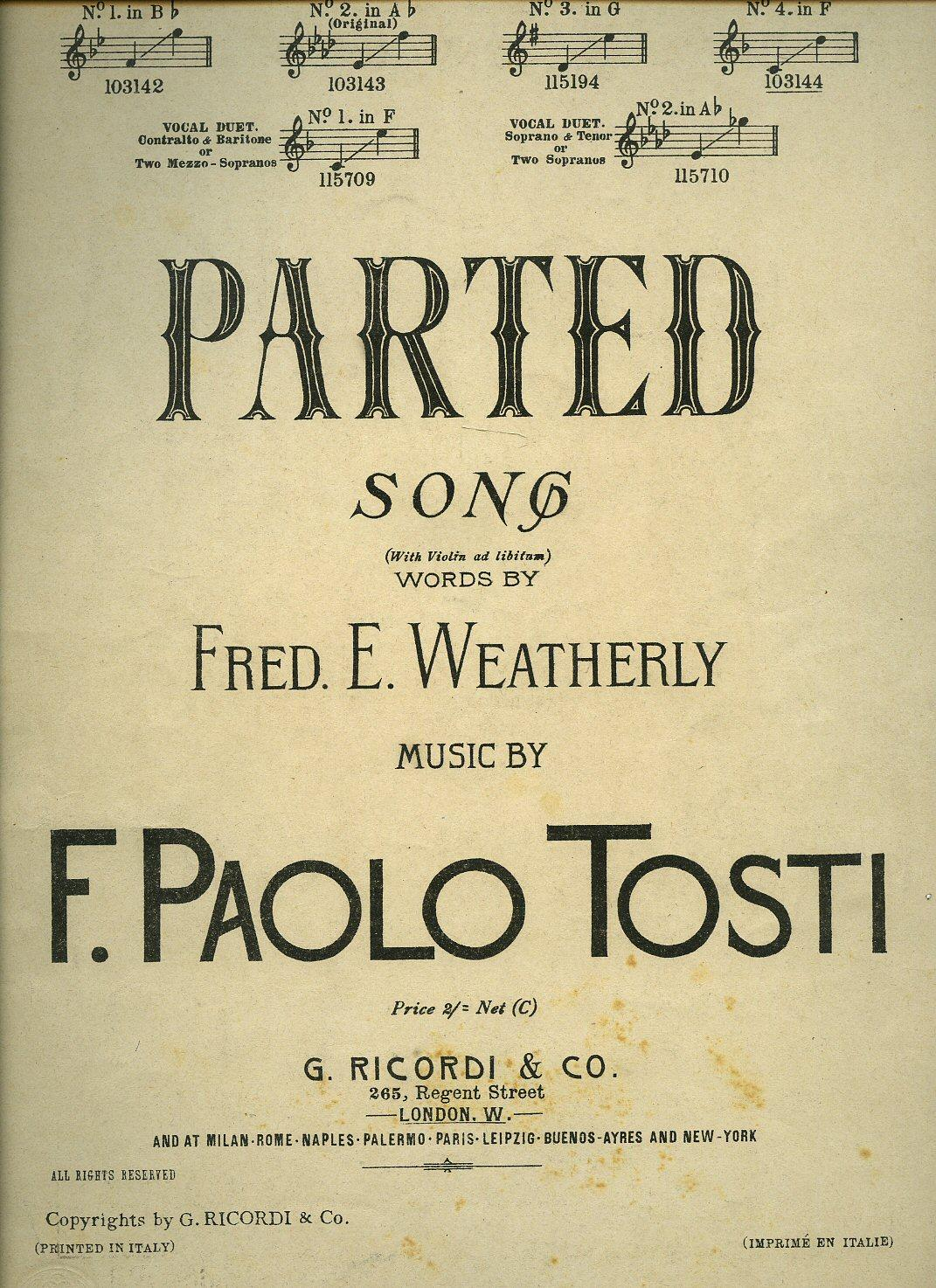 Parted Song [Vintage Piano Sheet Music] In F