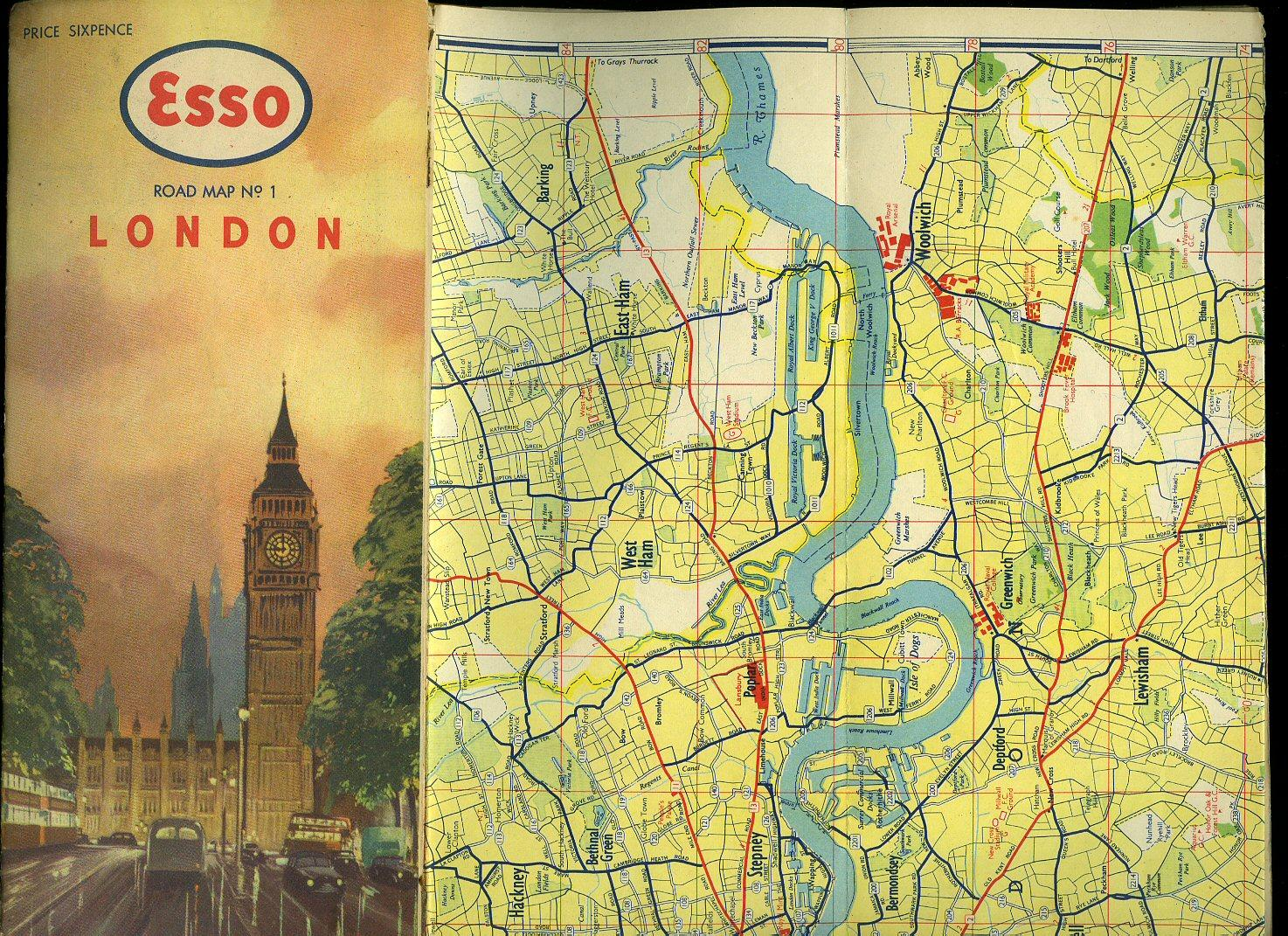 esso road map no 1 london illustration by blake to front cover