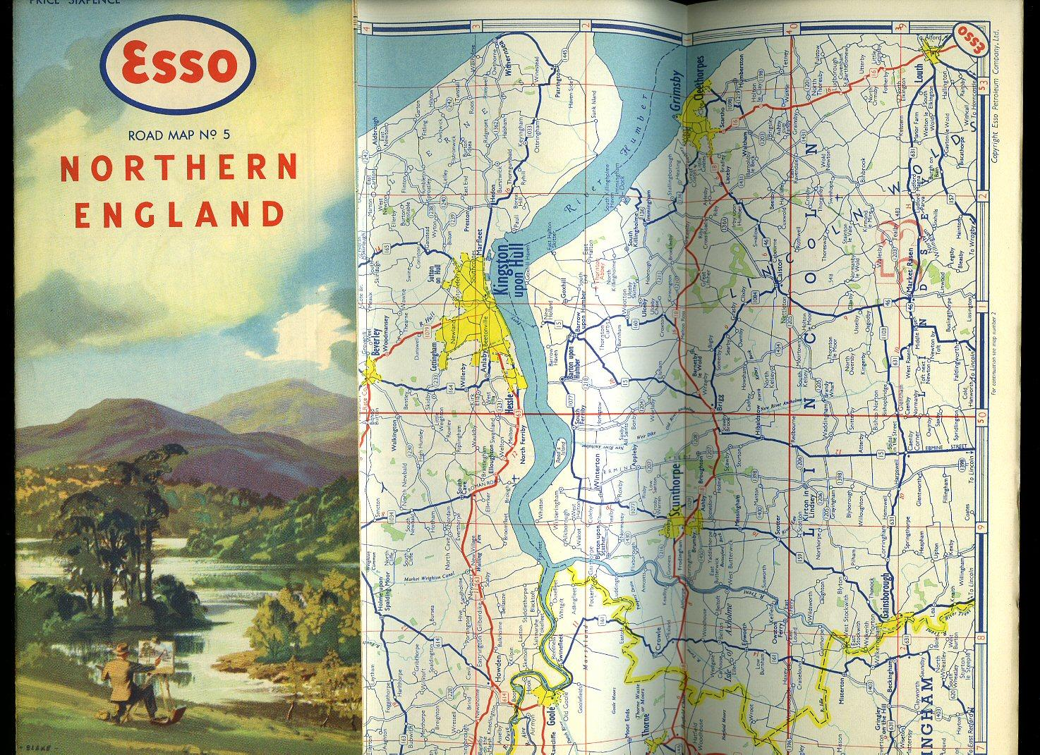 esso road map no 5 northern england illustration by blake to front
