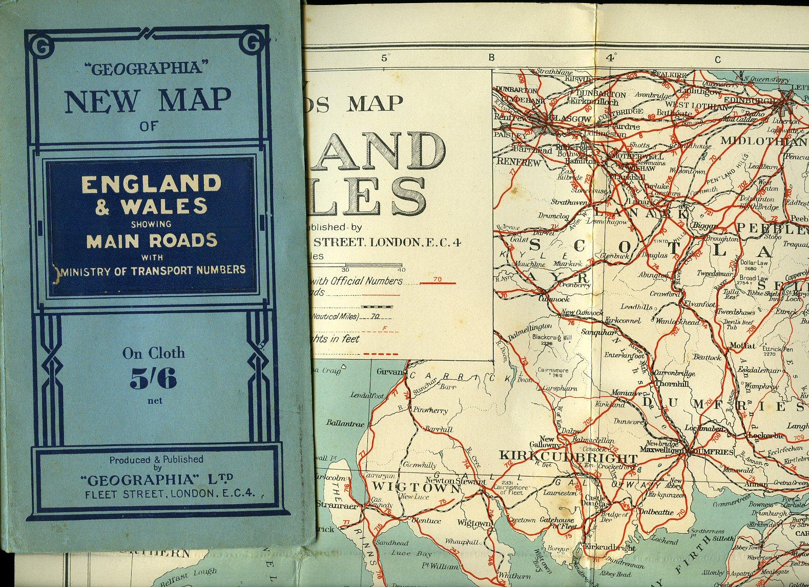 Driving Map Of England And Wales.Geographia Large Scale Road Map Of England