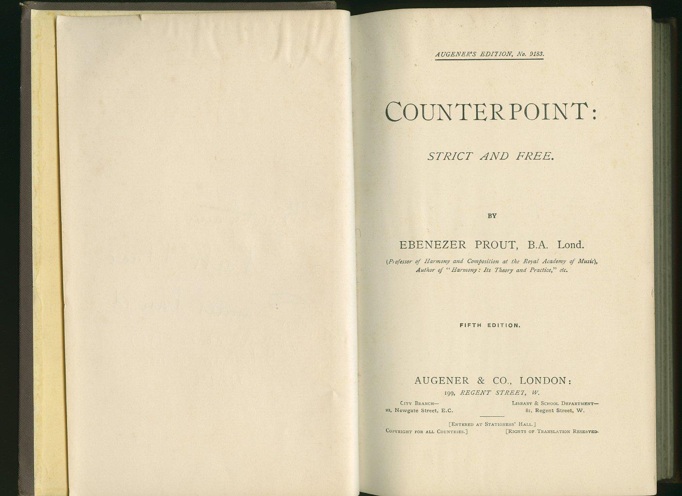 Counterpoint: Strict and Free [Augener's