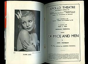 Of Mice and Men': Souvenir Theatre Programme: John Steinbeck [Starring
