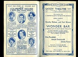 Wonder Bar: Souvenir Theatre Programme Performed at: Geza Herczeg and