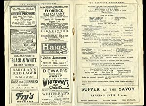 And So To Bed: Souvenir Theatre Programme: J. B. Fagan